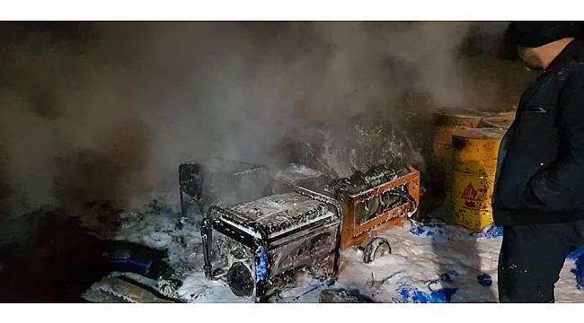 İnşaat Halinde Atıksu Arıtma Tesisinin Deposunda Yangın Çıktı